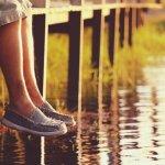 legs-dangling, Evening in natural, retro tone